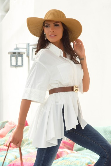 ASYMMETRIC LACE-TRIMMED WHITE POPLIN SHIRT