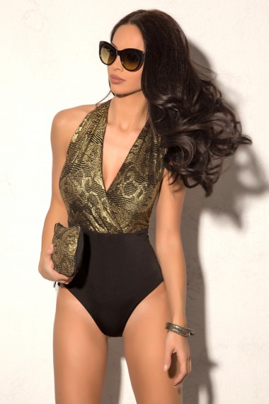 GOLD PRINTED LACE HALTERNECK SWIMSUIT