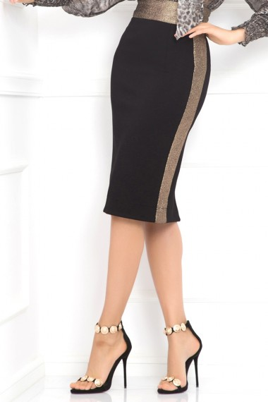 GOLD-STRIPED PENCIL SKIRT
