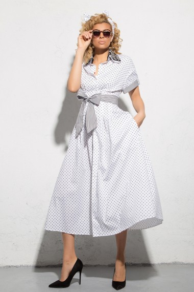 RETRO-CHIC POLKA DOT COTTON DRESS