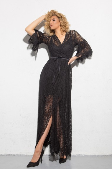 MAXI BLACK LACE BEACH DRESS-WRAP