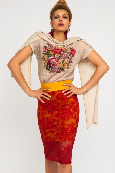 SHAWL-TRIMMED TAPESTRY-PRINT COTTON TOP