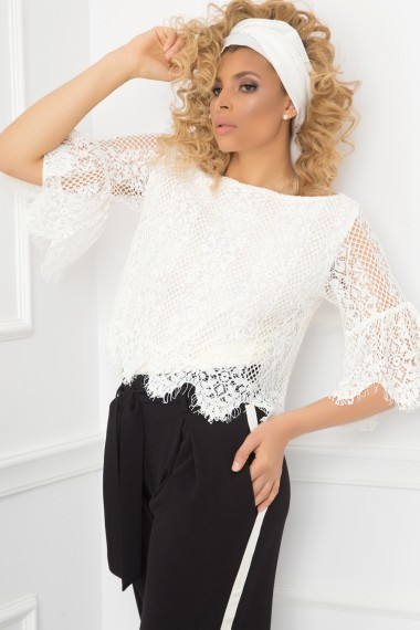 BOHO DOUBLE-LAYERED TUNIC FROM LINEN BLEND AND LACE