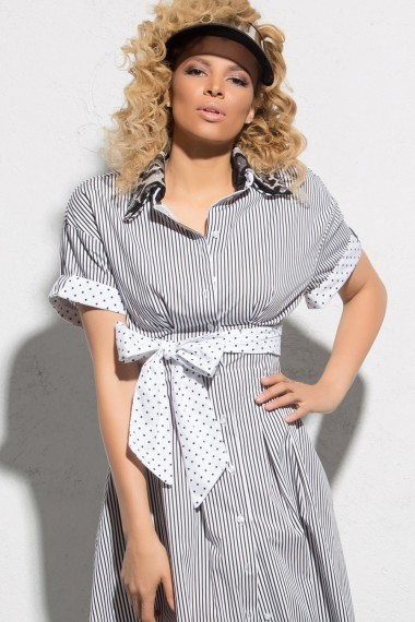 RETRO-CHIC STRIPED COTTON DRESS