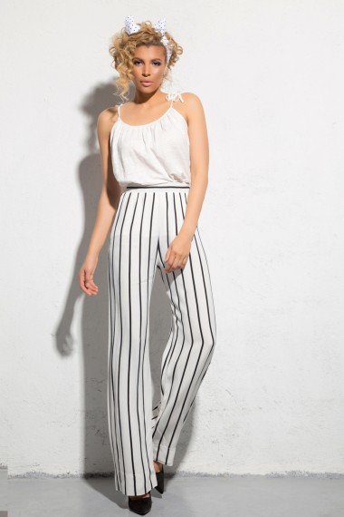 STRIPED SILK-BLEND PANTS