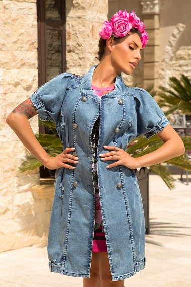 DOUBLE-BREASTED DENIM DRESS / VEST