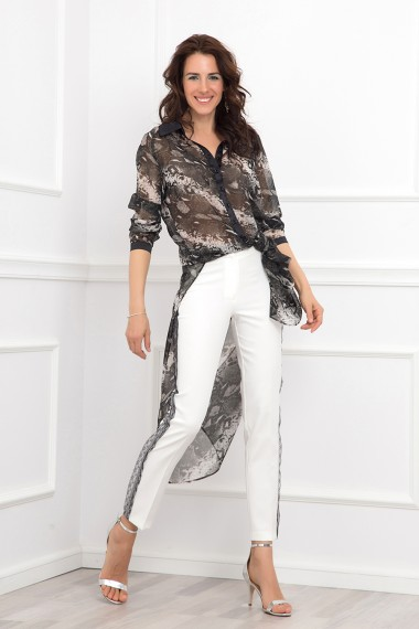 ECRU LACE-TRIMMED TAPERED PANTS
