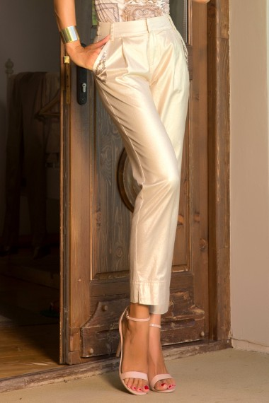 GOLD COTTON DENIM PANTS