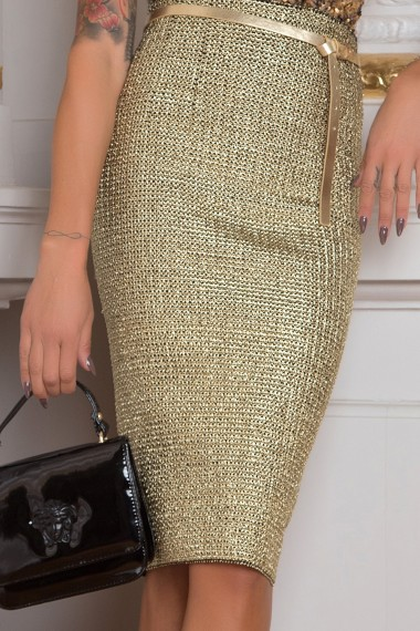 GOLDEN KNITTED PENCIL SKIRT