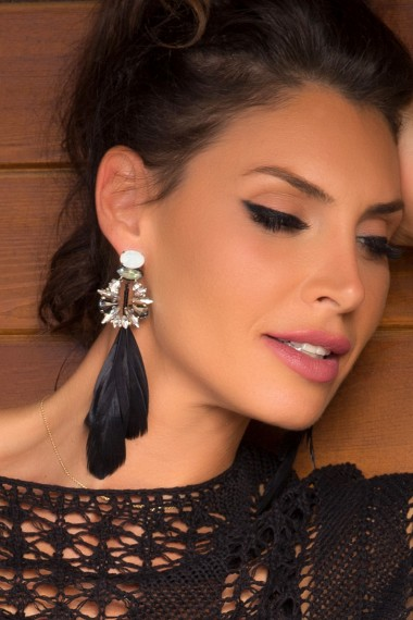 DESIGNER CRYSTALS AND FEATHERS EARRINGS