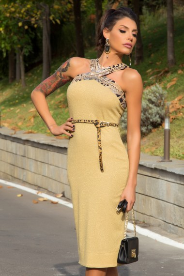 KNEE-LENGTH METALLIC GOLD RIBBED JERSEY DRESS