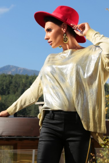 LOOSE METALLIC GOLD-PRINTED SWEATER