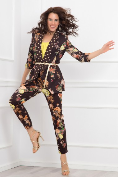 SET OF FLORAL-PRINT JACKET AND PANTS