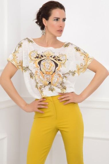 LOOSE COTTON-BLEND PRINTED TOP