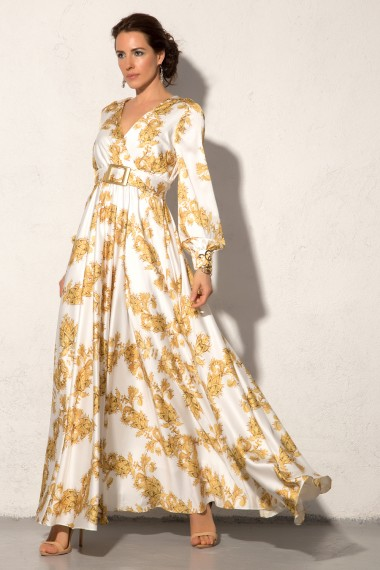 WRAP-EFFECT FLORAL PRINT MAXI DRESS