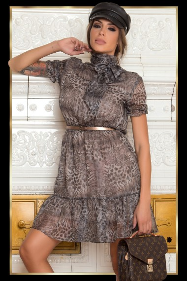 ROMANTIC LEOPARD SKIN PRINT DRESS