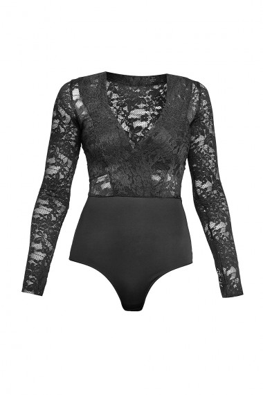 WRAP EFFECT LACE BODYSUIT
