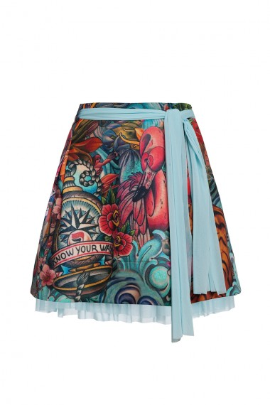 PRINTED NEOPRENE A-LINE SKIRT