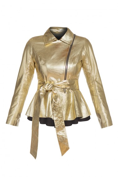 METALLIC-TEXTURED LEATHER JACKET IN GOLD