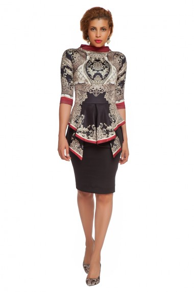DESIGNER PRINTED NEOPRENE DRESS