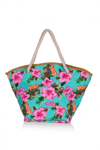 TURQUOISE FLORAL-PRINT BEACH TOTE