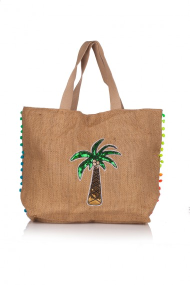 PALM TREE-ADORNED SACKCLOTH TOTE