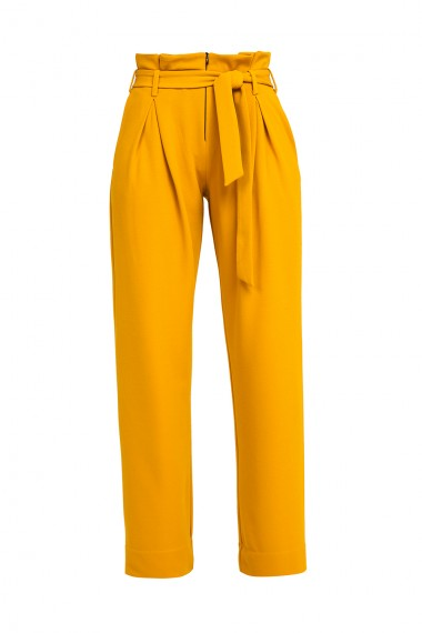 HIGH-RISE PLEATED OCHRE PANTS