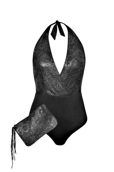 GLOSSY TEXTURED LACE HALTERNECK SWIMSUIT