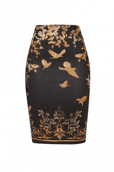 BLACK PENCIL SKIRT - GOLDEN BIRDS