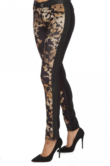 BLACK SLIM FIT PANTS WITH PRINT - GOLDEN BIRDS