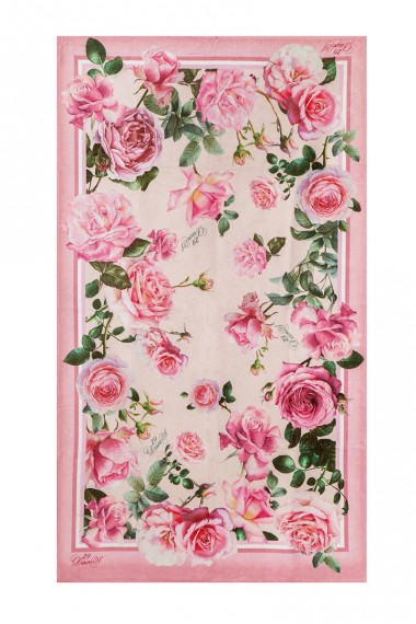 BEACH TOWEL WITH DESIGNER PRINT - ROSES