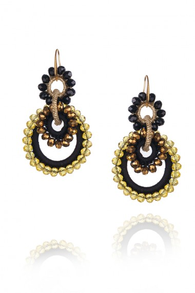 BLACK AND GOLD MACRAME AND CRYSTALS EARRINGS