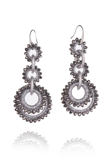 MACRAME AND CRYSTALS EARRINGS IN SILVER