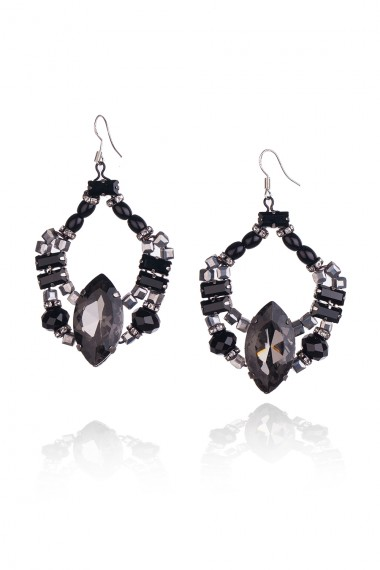 BLACK AND GREY CRYSTALS EARRINGS