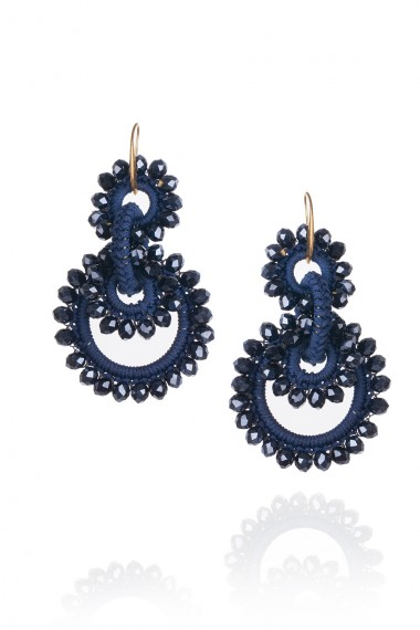 MACRAME AND CRYSTALS EARRINGS IN BLUE