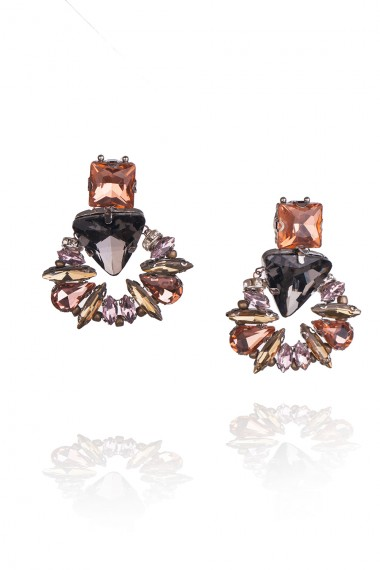 DESIGNER GREENSTONE AND ROSE GOLD CRYSTAL EARRINGS