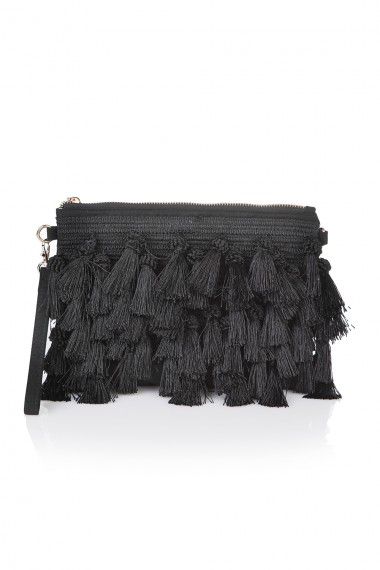 TASSEL-TRIMMED BLACK CLUTCH