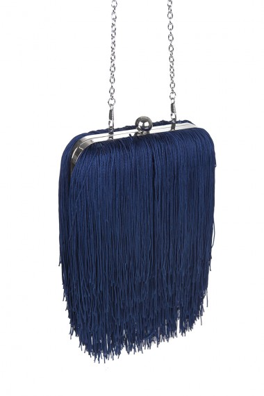 MINI FRINGES-TRIMMED CLUTCH
