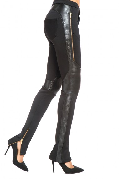 BLACK VEGAN LEATHER-TRIMMED STRETCH BIKER PANTS
