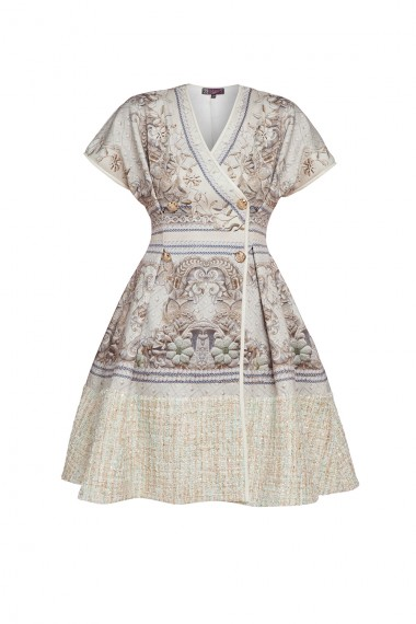 DESIGNER BOUCLE-PANELED PRINTED DRESS