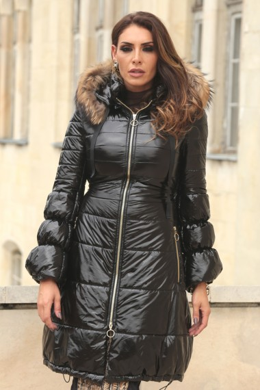 LUXE FUR-TRIMMED HOODED QUILTED SHELL COAT